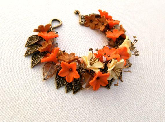 Fall orange - Fall bracelet - Flower bracelet - Fall leaves - Handmade bracelet