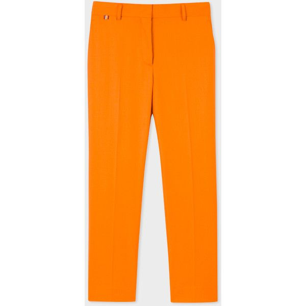 Paul Smith Women's Slim-Fit Burnt Orange Wool Trousers ($300) ❤ liked on Polyvore featuring pants, zipper trousers, paul smith, paul smith trousers, slim wool trousers and slim trousers