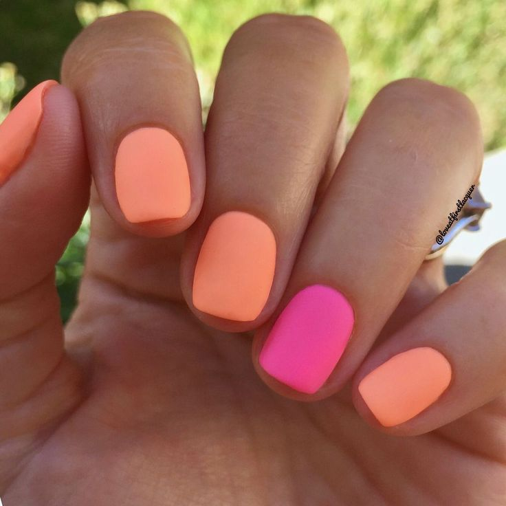 Perfect summer nails! Bright neon and orange matte nails are definitely nail tre…