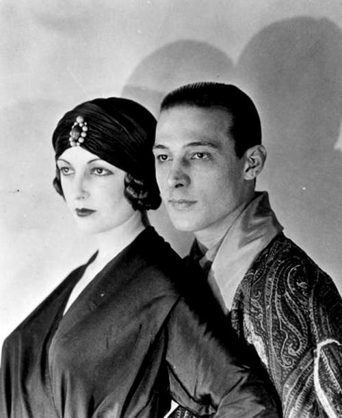 Natacha Rambova & Rudolph Valentino. Do yourself a favor and watch The Four Horsemen of the Apocalypse so you can gaze at Valentino's gorgeous face. Plus his entrance is at a tango bar. How perfect is that?!