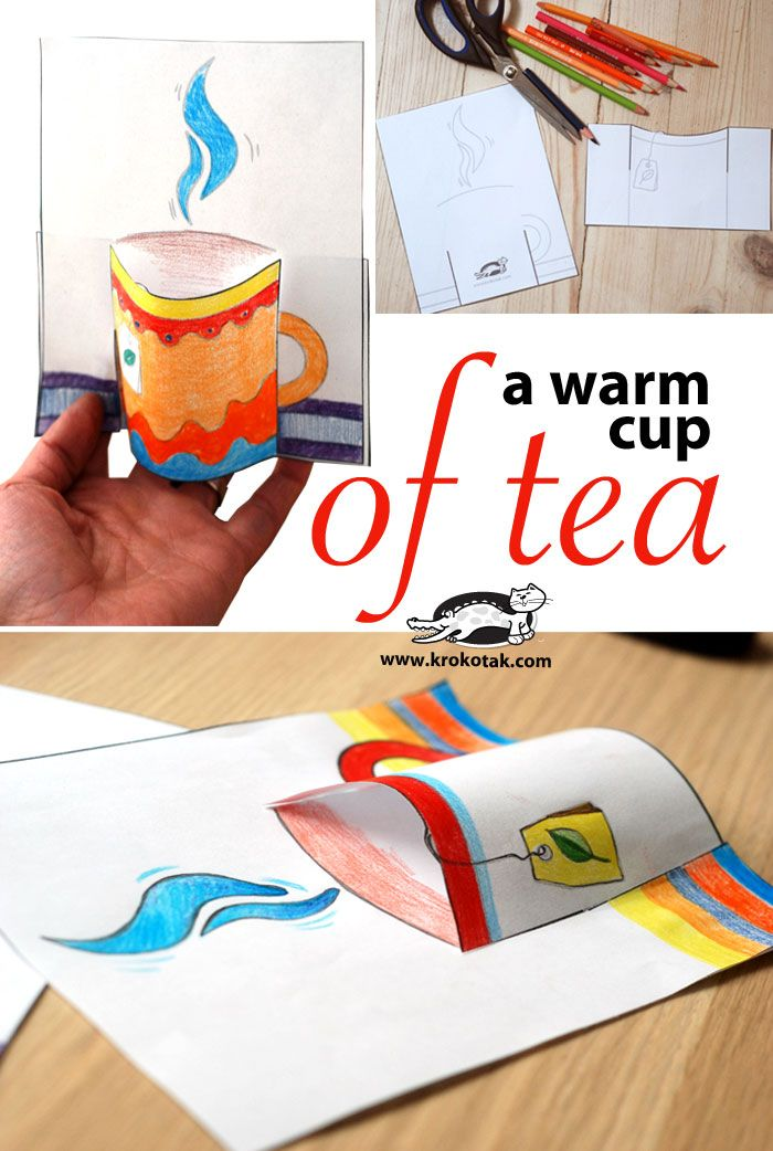 Great kids craft for those cold winter days! A warm cup of tea! 3D paper cup of tea craft from Krokotak.com