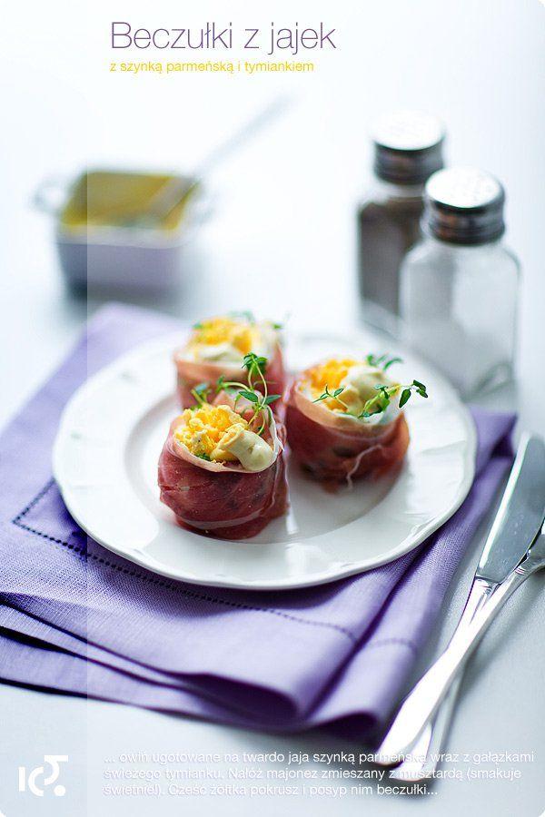 """""""Beczułki"""" z jajek z szynką parmeńską i tymiankiem   Kwestia Smaku"""