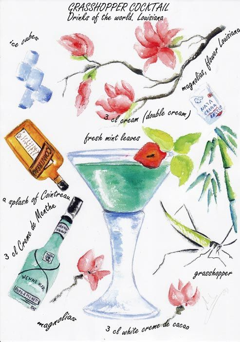 Grasshopper cocktail Watercolor print by VioletArtXXI
