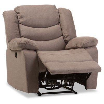 Lynette Modern and Contemporary Fabric Power Recliner Chair - Taupe - Baxton Studio, Dark Taupe