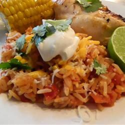 Easy Authentic Spanish Rice Recipe.  So good. I only used one onion and I didn't have any jalapeños on hand.