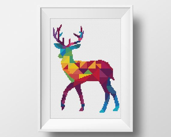 Deer Cross Stitch Pattern, Geometric Animal Xstitch, Embroidery Instant…
