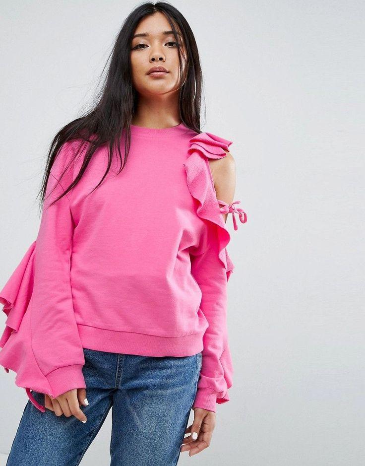 ASOS Sweatshirt With Ruffle Cold Shoulder - Purple
