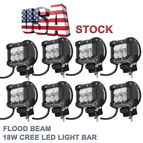 Topcarlight 4 Pairs 8 Pcs 4 Inches Flood Beam 8 Degree Off Road Cree 18w LED Work Light Bar 4wd Boat UTE Driving ATV Car