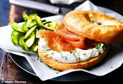 Christmas breakfast: bagel with creme fraiche, smoked salmon and dill