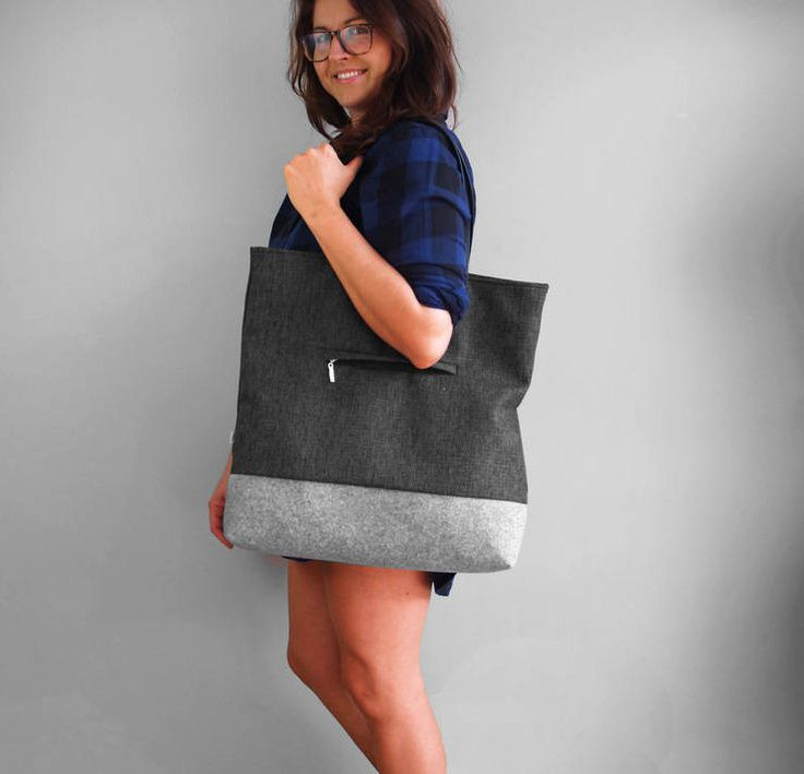 TOTE BAG SHOPPER 02 shoulder bag casual style dark gray thick and durable fabric with gray felt on the bottom Zipper Closed Handmade Bag by PurolDesignBags on Etsy
