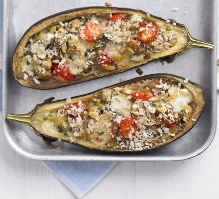 Italian-style stuffed aubergines- so easy and taste amazing!- I used cheddar instead of mozzarella and it worked just fine! :)