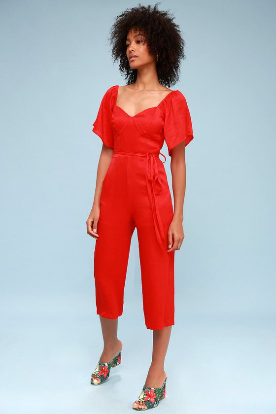 d70668de654 The Lost Ink Deniz Red Culotte Jumpsuit is sure to brighten your day! Ultra  lightweight