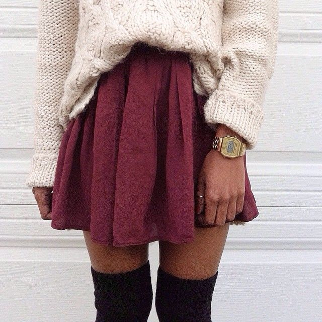 Cream sweater with maroon skirt and over-the-knee socks