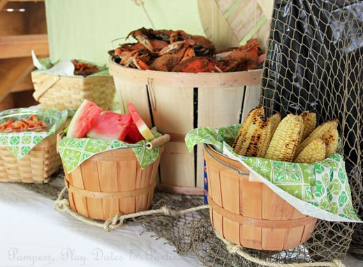 "Crab boil party setup- using apple bushel baskets. This will be perfect to ""set up food""  Charlie wants a crab/shrimp boil...and Janie Grace wants Fried Chicken :)"