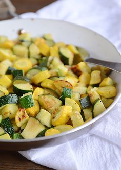 Skillet Zucchini and Yellow Squash Sauté - leave out the parmesan and adjust the oil/butter based on how many serves
