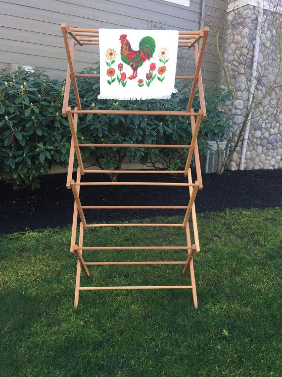Vintage Large Wooden Clothes Rack Collapsible by GirlGoesVintage