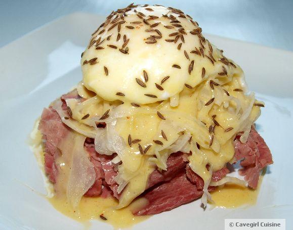 eggs benedict meets the reuben sandwich!  (gluten-free!)
