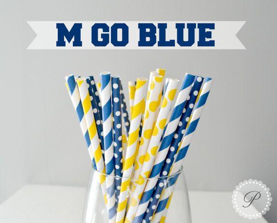 M GO BLUE // University of Michigan Paper by PeoniesPolkaDots