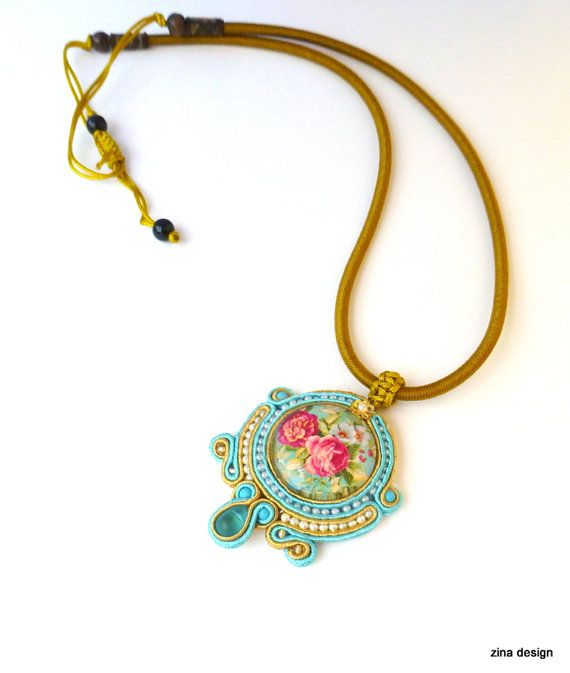 Soutache Necklace with Vintage Rose Blue Pink by ZinaDesignJewelry