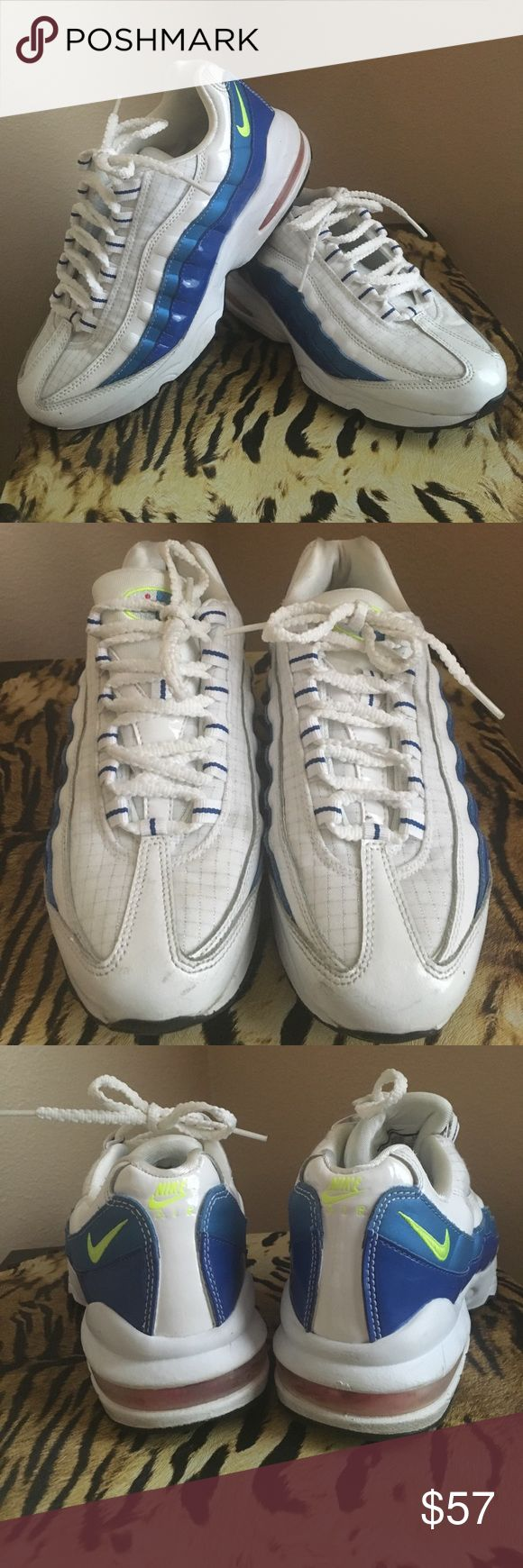 Nike Air Max 95 ( Size 5.5 Y) Nike Air Max are barely worn. In great condition although there are minor scuff marks on toe  area of each shoe.  Color: White, blue, neon swoosh. Nike Shoes Sneakers