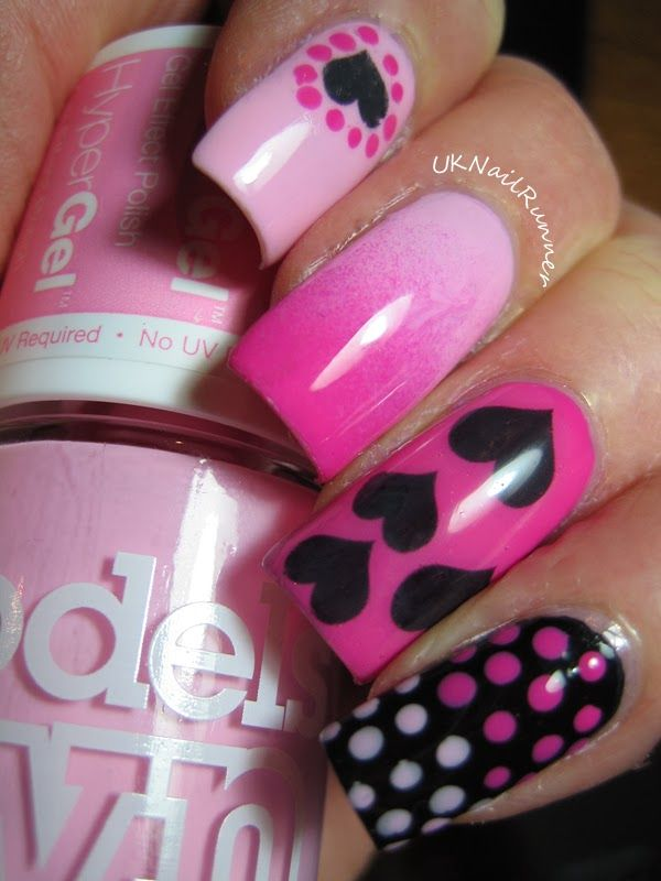 Models Own Hypergel Pink Veneer And Cerise Shine With FakeTattoos Heart Nail  Tattoo Pink And Hearts For Valentines Day, How P.