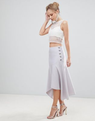 ASOS Hanky Hem Midi Skirt with Side Button Detail