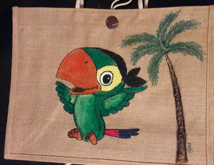 #style, #handpaintedbag, #summer, handpainted bag, parrot, #neverland , #parrot, #skully