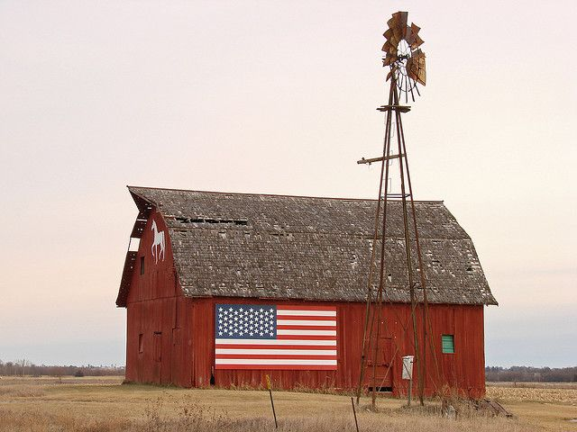 American Heartland US flag red barn #Americana pride