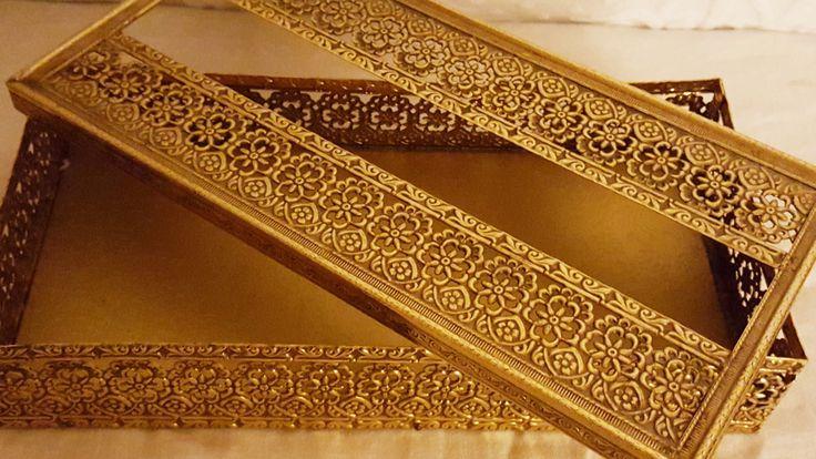 Vintage Decorative Gold Floral Tissue Box,Ornate Tissue Box Holder,Hollywood Regency Decor,Gold Bathroom Accessory, Decorative Tissue Holder by GinnysGirlsTreasures on Etsy