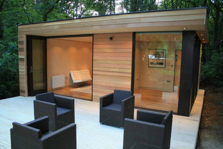 In.It.Studios' Prefab Garden House is a Modern Small Space Tuc...   -like the color contrast birch wood & black