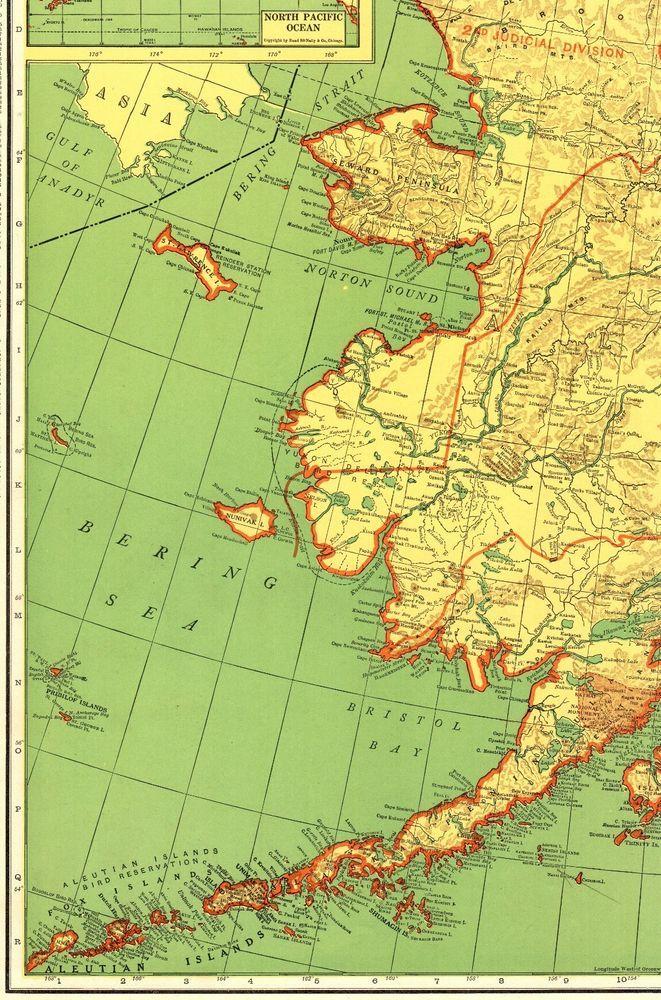 1950 Vintage ALASKA State Map RAILROADS Antique Map of Alaska RARE ...