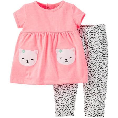 Child of Mine made by Carter's Newborn Baby Girls' Top and Pant Outfit Set 2…
