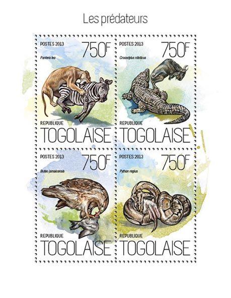 TG 13815 a – Predators, (Panthera leo, Crocodylus niloticus, Buteo jamaicensis, Python regius).