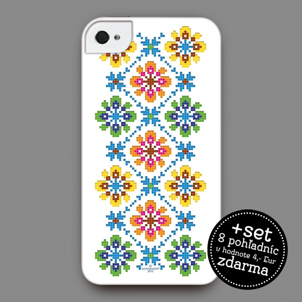 iPhone 4/4s cover - Design inspired by a cross-stitch patter on a female shirt from traditional Slovak folk dress of the Bogliarka village, early 20th century | Slovakia gift