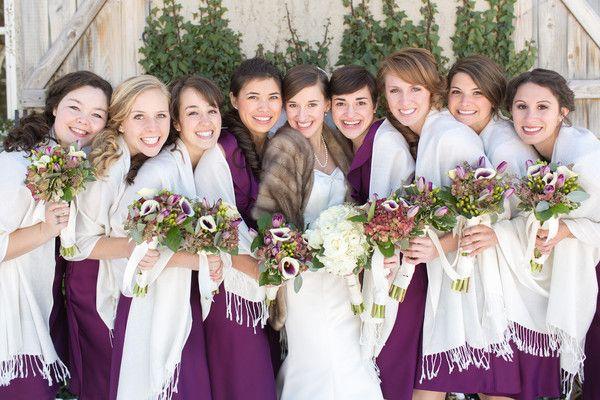 We love these winter jewel-toned bridesmaids looks! {@annagracephoto; Bridesmaid Dresses: J. Crew}