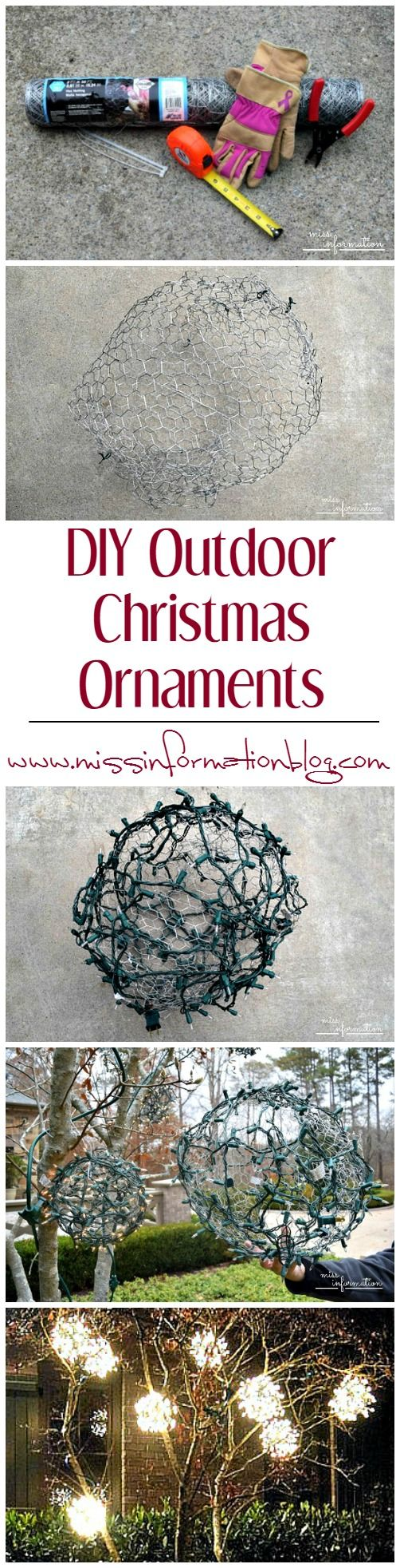 See how easy it is to make these awesome Outdoor Chicken Wire Christmas Ornaments, they are easy and cheap to make!