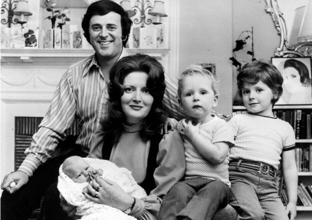Sir Terry Wogan and his wife Helen with their baby daughter Katherine, at three weeks old, and their sons Alan, 5 (right), and Mark, 2, in 1972