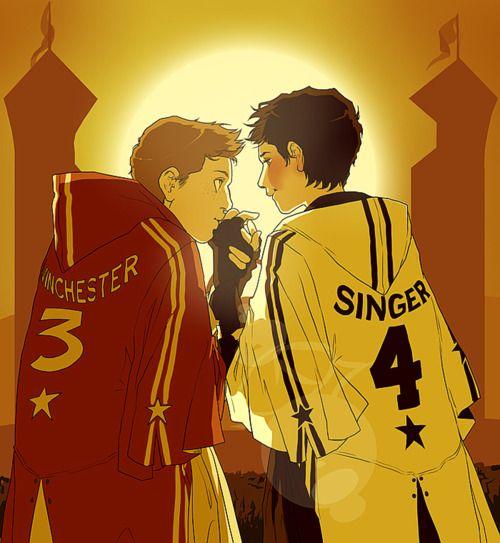 Supernatural Hogwarts AU: Dean/Castiel. Their love grips you tight.