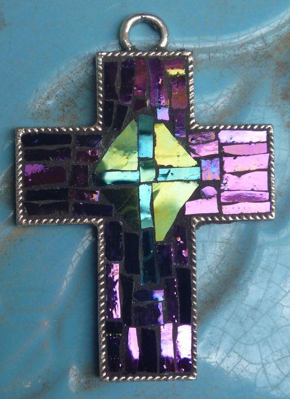 Purple turquoise and green glass mosaic cross by DarlenePayton, $20.00