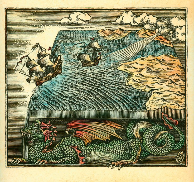 Flat earth fantasy map woodcut illustration with
