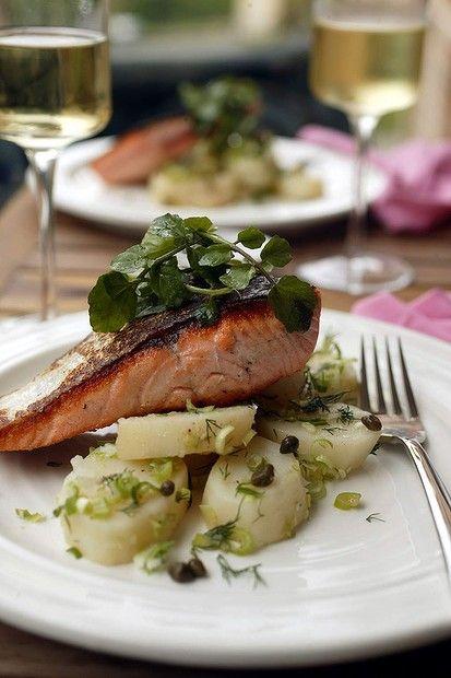 Jill Dupleix's warm salmon, potato and dill salad. Photo: Quentin Jones