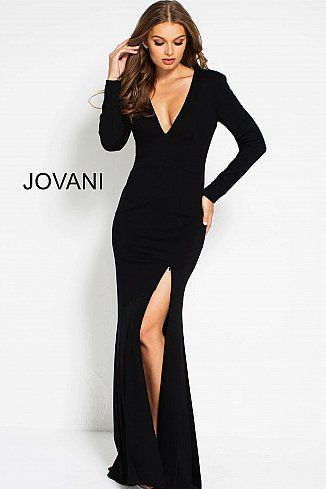 d1a3f1680f61 Black Fitted Long Sleeve High Slit Evening Dress 51109 | Zack and ...