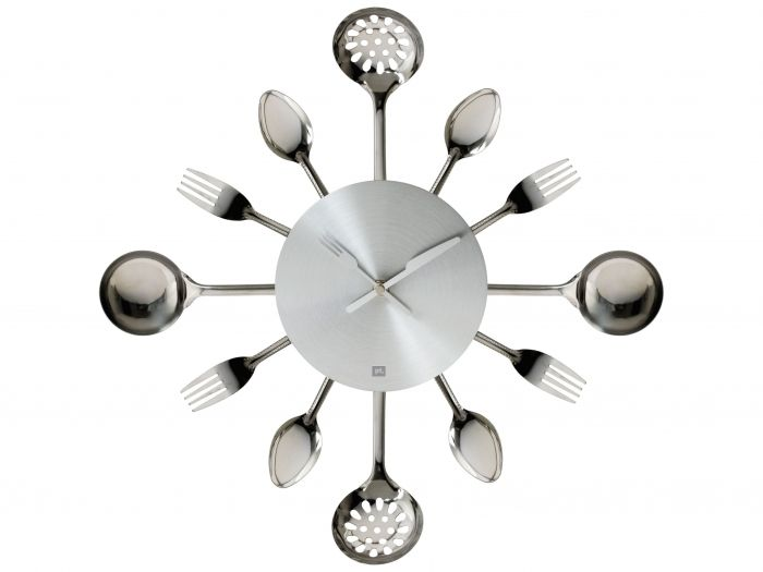 Keuken muur klok - Silverware Utensils steel small - Klok, wekker, klokken, wekkers - Relatiegeschenken