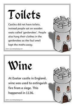 A set of 18 A5 printable fact cards that give fun and interesting facts about castles. Each fact card has a key word heading, making this set an excellent word wall as well! Visit our TpT store for more information and for other classroom display resources by clicking on the provided links.