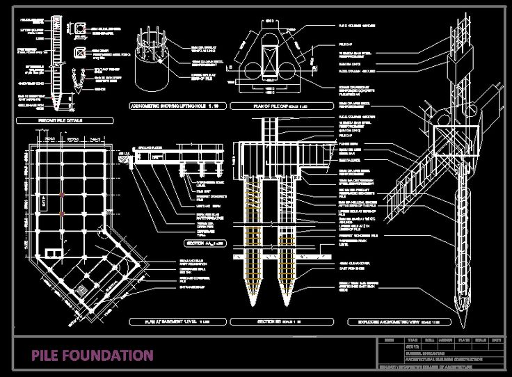 Detail Pile Foundation Dwgautocad Drawing