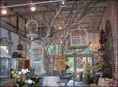 stage decor -- tree with vintage birdcages