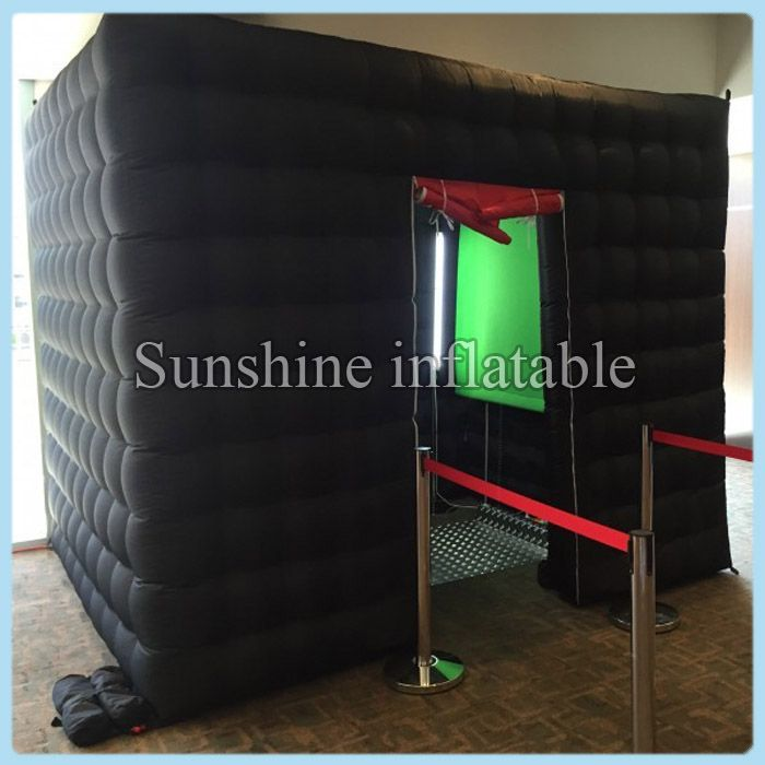 3mL*3mW*2.4mH cool black inflatable cube tent,inflatable photo booth for sale