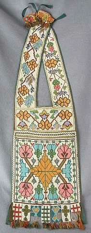 Loom-beaded bandolier bag, Ojibwe, Great Lakes region, late nineteenth century. Beginning in the mid-nineteenth century, American Indians of the Great Lakes region used beads and cloth acquired through trade with Anglo Americans to create a new form--the bandolier bag. Made by women but typically worn by men as part of their ceremonial dress, these vividly colored and elaborately beaded bags were symbols of both personal status and tribal identity.
