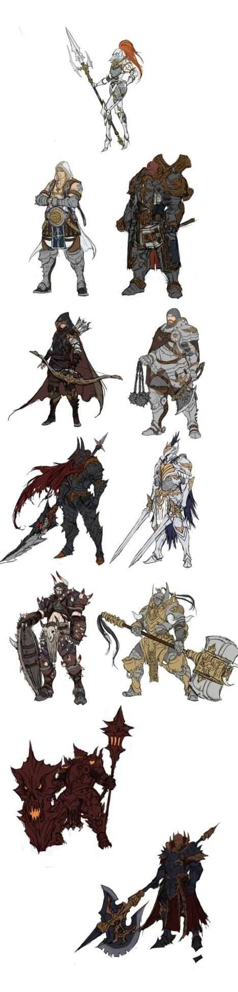 I'm going to assume that the single woman character is the one wearing heels on her armor. for... some reason
