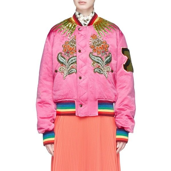 Gucci Tiger floral appliqué reversible padded bomber jacket (20.835 BRL) ❤ liked on Polyvore featuring outerwear, jackets, pink, floral bomber jackets, bomber style jacket, pink bomber jacket, floral-print bomber jackets and sequin bomber jacket